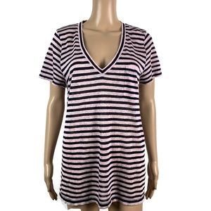 J crew 100% Linen T Shirt Striped Pink Blue